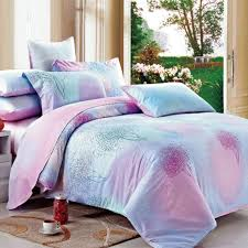 elegant sparkly pink purple and tiffany blue forest scene tree print feminine twin full queen size luxury cotton bedding sets