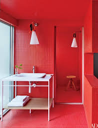 Image Lorenzonatura Red Bisazza Tile Lines Bath Of So Paulo Home Designed By The Campana Brothers Architectural Digest 20 Colorful Bathroom Design Ideas That Will Inspire You To Go Bold
