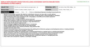 Picture Gallery of Switchboard Operator Resume Sample