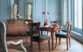 dining blue walls brown furniture