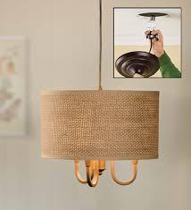 natural weave chandelier drum shade pendant light