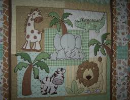 Baby Quilt Pieced and Quilted | napquilting & The center panel animals and all the trees were outlined stitched. Each  background section was also custom stitched…some with 1/2? circles (giraffe  and ... Adamdwight.com