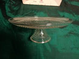 details about anchor hocking pedestal cake stand plate monaco