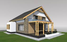 Four Room Attic House Plans Beige Plaster Integrate