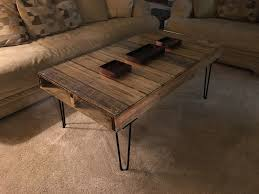 wood pallet coffee table 16 hairpin legs glass top