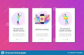 Smartwatch App Design Smartwatch Health Tracker App Interface Template Stock