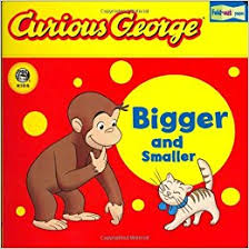 amazon curious george bigger and smaller cgtv fold out pages board book 0046442737609 h a rey books