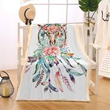 blessliving cow skull decorative throw blanket dreamcatcher feathers roses native american fleece thin quilt sherpa bed blanket hd designs microplush