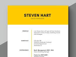 Yellow Elegant Resume Clean Resume Microsoft Word Resume Ms Word Cv Instant Download Cv Professional Resume Creative Resume