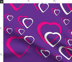 Purple Background Designs Fabric By The Yard Pink And White Hearts Purple Background