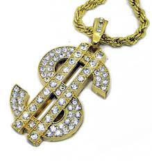 iced out bling 24k gold plated dollar sign pendant hiphop chain
