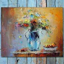 palette knife flowers oil painting colorful still life painting abstract flowers and fruits modern art painting flower bloom home decor