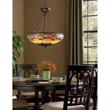 Quoizel TF1781 Belle Fleur 4 Light Bowl Pendant With Tiffany Stained Glass,