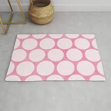 pink and white polka dots rug