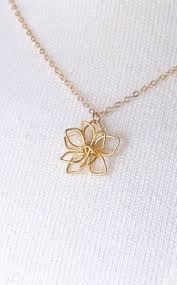 gold delicate flower necklace simple