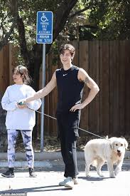 Camila Cabello Dons Sweater And Leggings Alongside Shawn Mendes As They Walk Their Dog In La