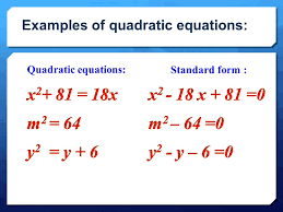 4 examples of quadratic equations
