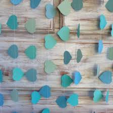 Turquoise Baby Shower Decorations 3 Metres Tropical Collection Ocean Aqua Azure Blue Heart Garland