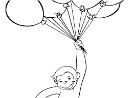 Up With Balloons Curious George Coloring Pages Halloween Christmas