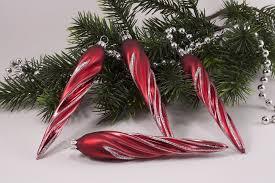 4 Eiszapfen Rot Matt Antik Geschwungener Streifen Silber Lauschaer Weihnachtskugeln Ca 13 X 2cm