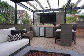 Roof deck furniture Office Rooftop Outdoor Av Jenni Steele Rooftop Deck With Amenities Chicago Roof Decks Pergolas And