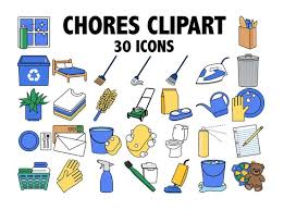 Chores Clipart Kids Chore Chart Planner Sticker Icons Daily Organizer Housework Clipart Household Work Digital Clip Art