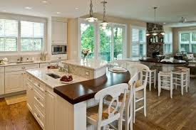 Kitchen Eating Area Traditional Kitchen Double Island Rounded Wood Top Breakfast Bar
