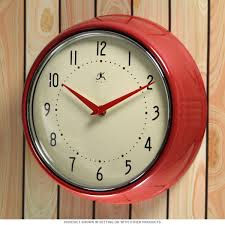 Red Retro Kitchen Accessories Red Fifties Style Kitchen Wall Clock Infinity Wall Clocks