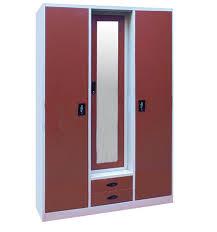 Godrej Almirah Design 3 Door Metal Wardrobe Antique Storage Cabinet