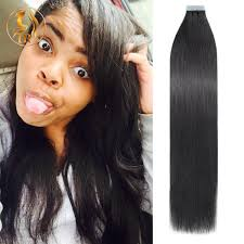 1b natural black tape in virgin hair extension straight
