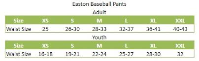 Easton Baseball Pants Size Chart Easton Easton Pro Pull Up Pant Youth