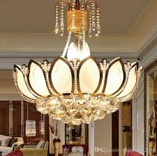 lotus flower glass gold led crystal chandeliers lights ceiling pendant lamp 45cm 50cm for dining room bedroom lighting llfa chandelier for deer antler