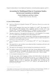 pdf accounting for multilingual s in translation stus intratextual translation in dubbing