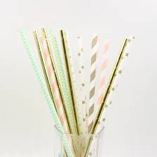 200pcs Pink Mint Green And Gold Stripe Straws Metallic Paper