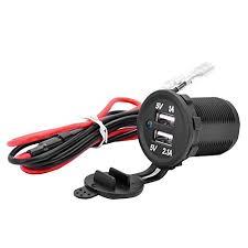 qunqi universal waterproof 12v 1a 2 1a dual 2 usb port power voltage dc 12v usb socket i power output dc 5v 1a usb socket ii power output dc 5v 2 1a standard nut installation waterproof usb cap