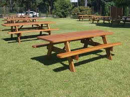 wooden commercial picnic tables at a club in woolongong