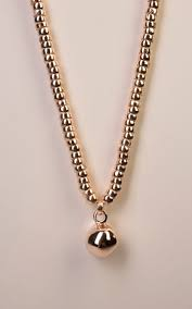 rose gold long necklace with solid ball pendant with rose gold bead detail