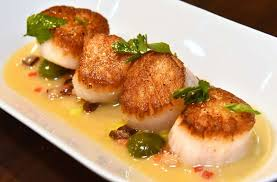 scallops and speck scallops castelvetrano olives cri speck herbs at vintage on