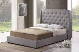 Ipswich Gray Linen Modern Platform Bed  King Size  Affordable Linen Platform Bed