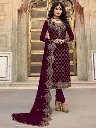 Images Of Designer Party Wear Salwar Kameez Wine Colour Designer Partywear Georgette Embroidery Salwar Suit