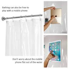 clear waterproof bath shower curtain liner with pockets for phone ipad 180 180cm phone tablet holder bathroom shower curtains oo65 transpa shower