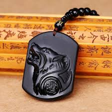 4pcs obsidian wolf head pendant necklace crystal carving black pearl lucky men jewelry women gemstone blessing