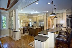 cream kitchen cabinets with black countertops. Traditional Kitchen With Cream Cabinets, White Cabinet Breakfast Bar Absolute Black Granite Cabinets Countertops C