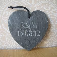engraved slate wedding gift heart