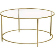 vasagle round coffee table glass table
