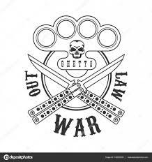шаблон для кастета уголовное Outlaw стрит клуб черный и белый знак