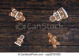cute gingerbread background. Interesting Cute Cute Homemade Gingerbread Family On Dark Wooden Background  Csp52797093 Inside Gingerbread Background G