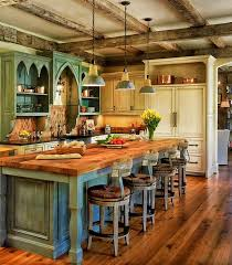 rustic kitchen island: a rustic country kitchen with a color palette of dusky blue and ivory the natural