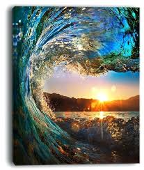 ocean canvas art colored ocean waves falling down wrapped canvas art beach themed canvas wall art