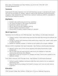 Resume Templates: Informatica Developer